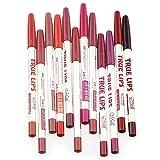 CINEEN 12 Colore Matita Labbra Trucco Impermeabile Matita Rossetto Duraturi Lip Liner con coperchi