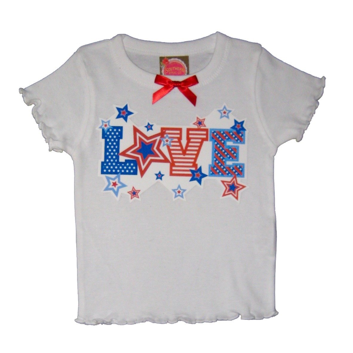 Southern Wrag Company Little Girls' 4th of July Top Love (4T)