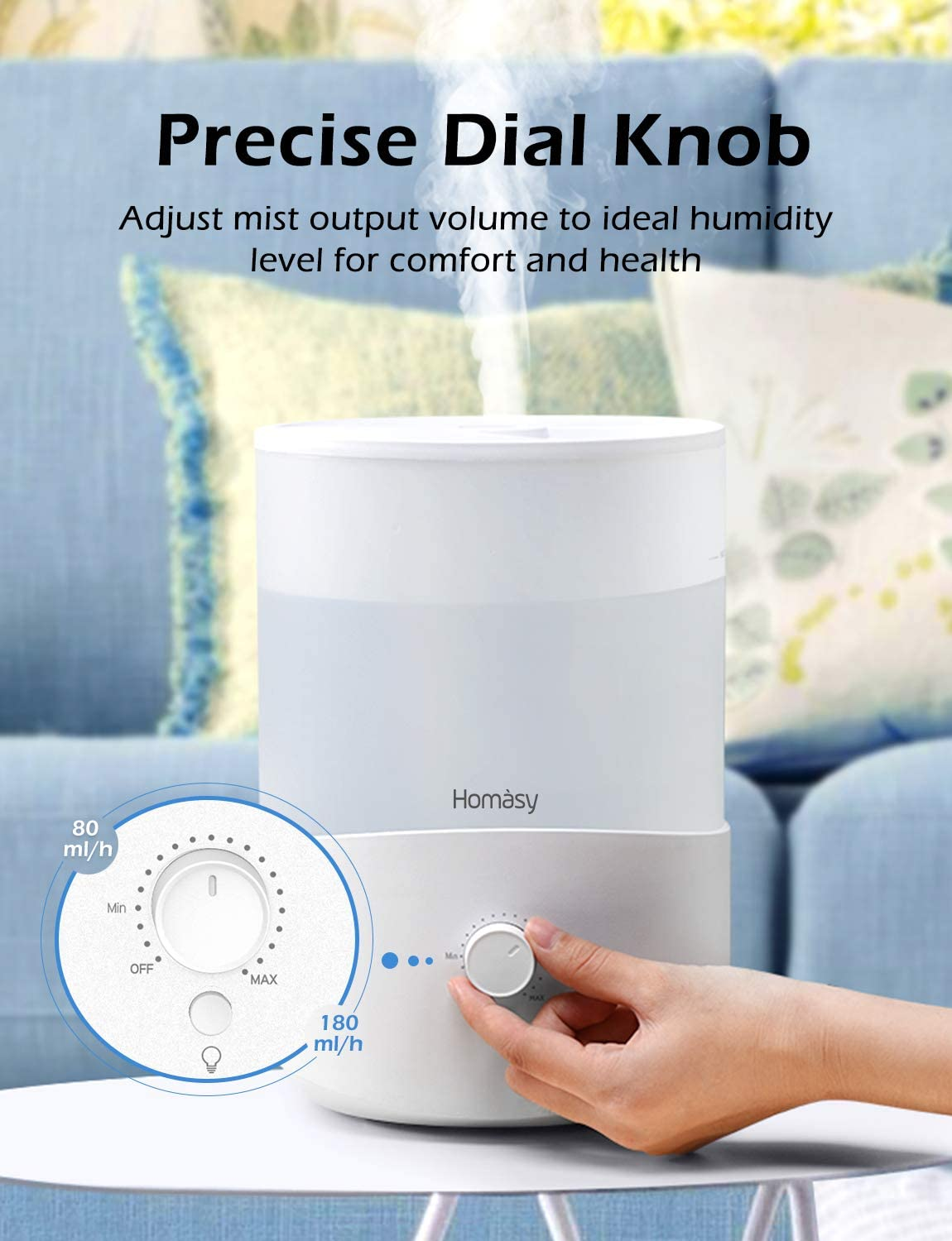 Top-Fill Air Humidifier with Precise Dial Knob 28dB Quiet Humidifier 2.5L Cool Mist Humidifier and Oil Diffuser 30 Hours Working Time for Baby Bedroom Home Office All White Homasy Humidifiers