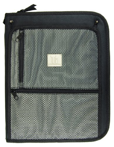 Top Flight Titanium Zipper Binder with 1.5 Inch Slant D-Rings, Foldout Pouch, CD Carrier and Interior File Pocket, 13.5 x 11 Inches, 1 Binder, Black/Silver ()