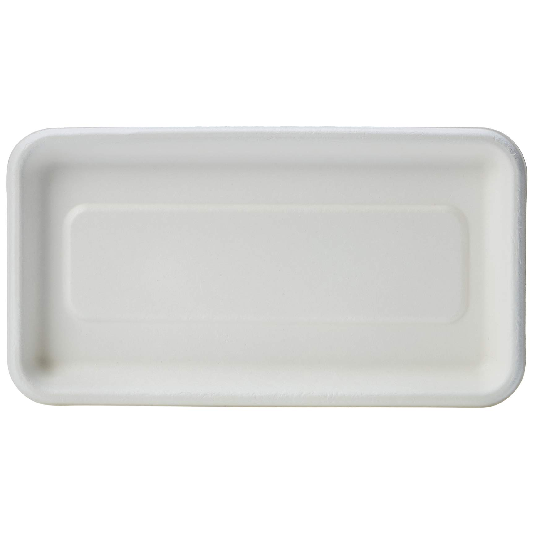 AmazonBasics Compostable Mini Tray, White, 8.3 x 4.5 x 0.6 Inches, 500 Trays