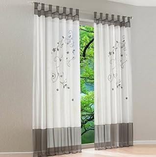 Souarts Grau Stickerei Transparent Gardine Vorhang Schlaufenschal Deko Für  Wohnzimmer Schlafzimmer Studierzimmer 140cmx175cm Nur Ein Schlaufenschal