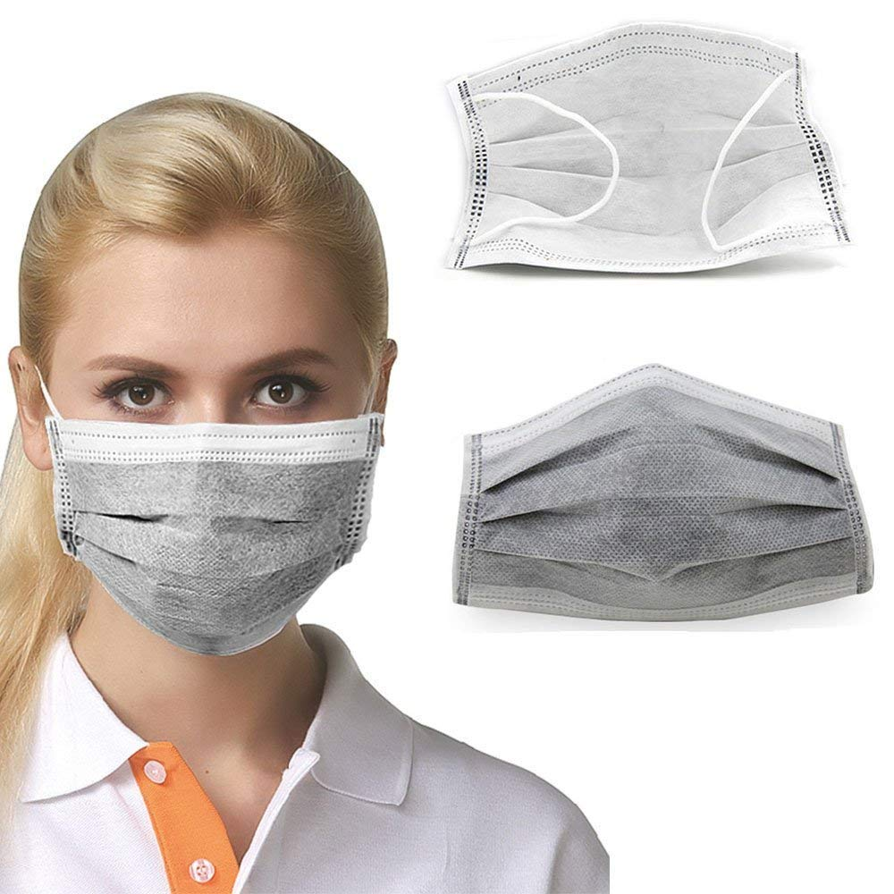 G&S GS 50pcs Disposable 4 Layer Activated Carbon Face Mask Filter Non Woven Doctor Medical Anti-Dust Anti-haze Anti-formaldehyde Mouth Masks