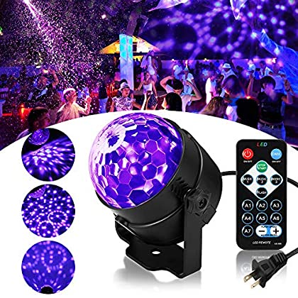 SOLMORE LED UV Black Light 3W Disco Ball Party Lights DJ Lights Sound Activated Strobe Light Stage Lighting for House…