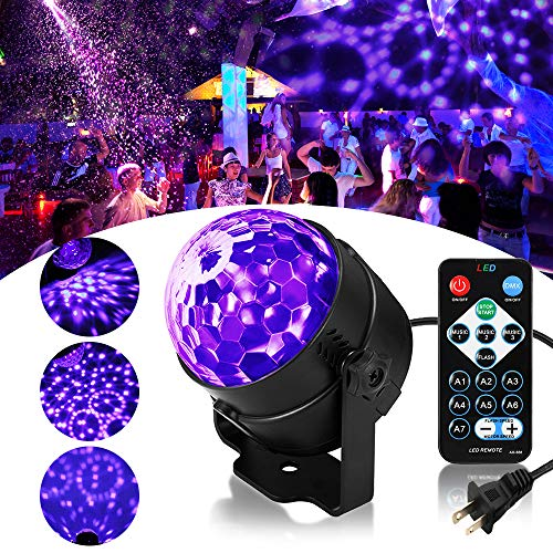 SOLMORE LED UV Black Light 3W Disco Ball Party Lights DJ Lights Sound Activated Strobe Light Stage Lighting for House Party Nightclub Karaoke Dance Wedding Ballroom Halloween Event(with Remote)]()