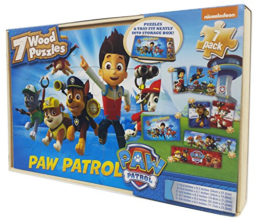 Paw Patrol 7 Wood Puzzles in Wooden Storage Box (Styles Will - Box Set Wooden Puzzle