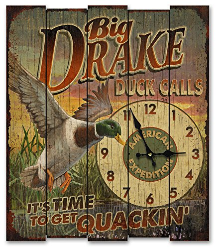 UPC 659356046455, American Expedition Big Drakes Duck Calls Wooden Clock, Large, Multicolor