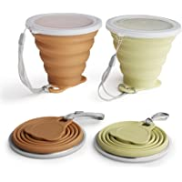 ME.FAM 2 Pack Collapsible Bundle Slim Camping Cups w Lid | BPA Free, FDA Silicone | for Outdoor Camping Hiking Travel…