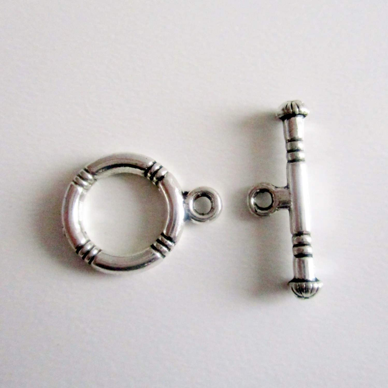 G1657 Toggle Clasp Sets 8 Toggle Clasp Sets Stripe Carved Antique Silver