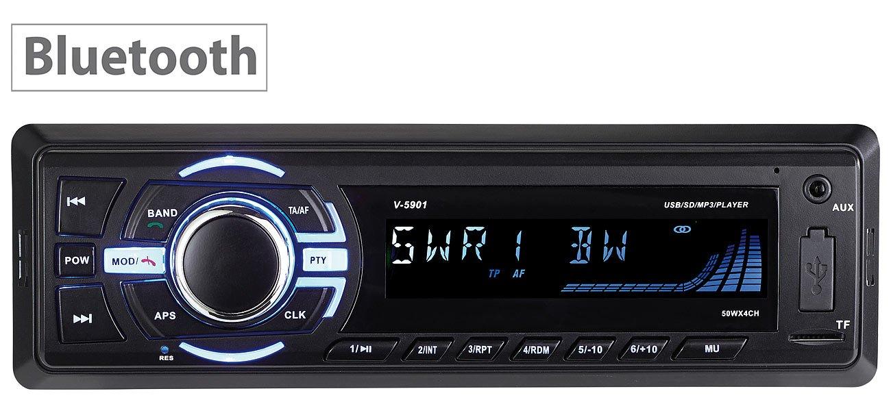 Creasono Autoradio 1 DIN: MP3-Autoradio mit Bluetooth, Freisprechfunktion, RDS, USB, SD, 4X 50 W (Autoradio BT)