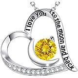 Christmas Jewelry Gift November Birthstone Citrine Heart Necklace Jewelry Sterling Silver Swarovski Birthday Gift for Women