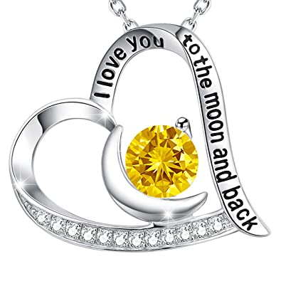 Mothers Day Gift Yellow Citrine October Birthstone Necklace I Love You To The Moon Back Heart