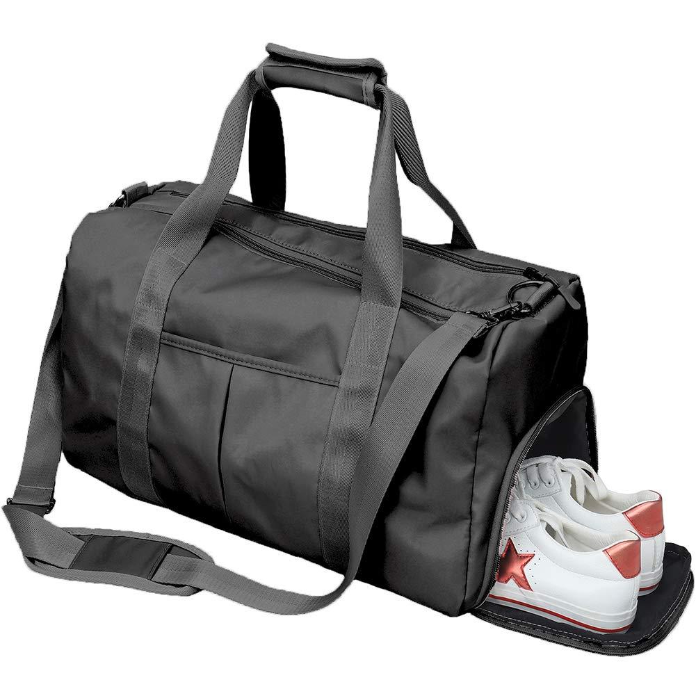 Women Gym Sport Bag with Wet Pocket & Shoes Compartment Waterproof Swim Dance Weekender Travel Duffel Bag (Gmy Bag Black)