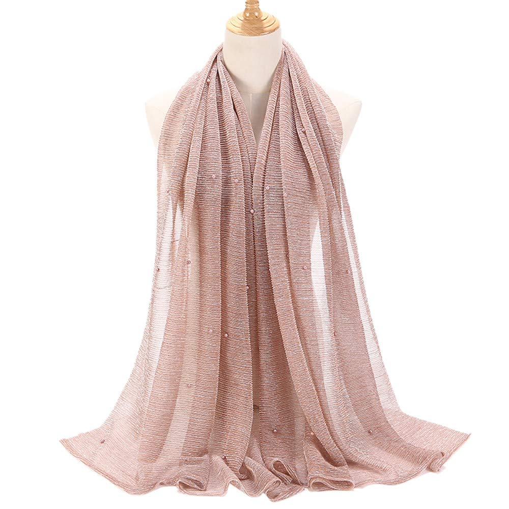 Women Ladies Pearl Decoration Soft Muslim Long Scarves Shawl Wraps Wociaosmd Clearance