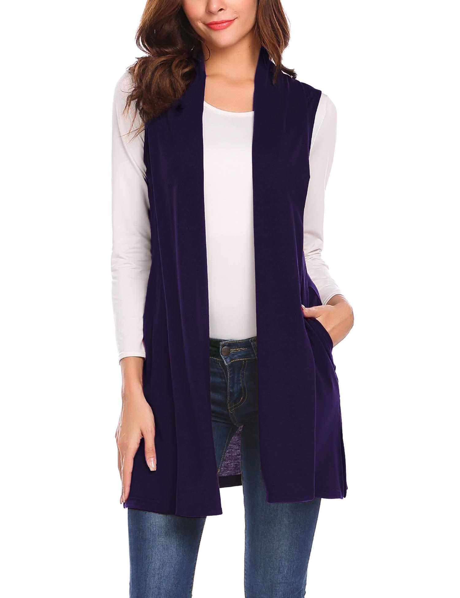 Beyove Womens Petite Long Vests Sleeveless Shawl Draped Open Front Knit Cardigan Purple L
