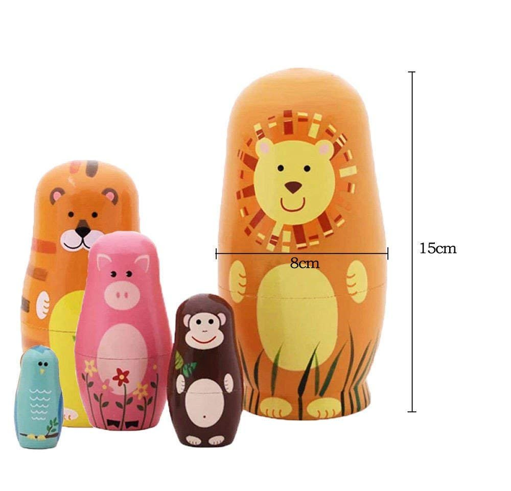Maxshop 5 Pieces 6'' Tall Cute Nesting Dolls Matryoshka Doll Russian Matryoshka Doll Handmade Wooden Dolls Cartoon Animals Pattern Toy Gift by Maxshop (Image #2)