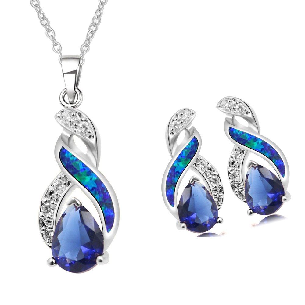 Sinlifu Charming Teardrop Sapphire Opal Topaz CZ Silver Plated Pendant Necklace Chain 18'' (Silver Sets: Blue Opal+Sapphire) by Sinlifu (Image #1)