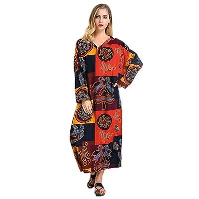 Celmia Women's Vintage Long Sleeve Printed V Neck Oversized Kaftan Party Cotton Long Maxi Dress With Pockets