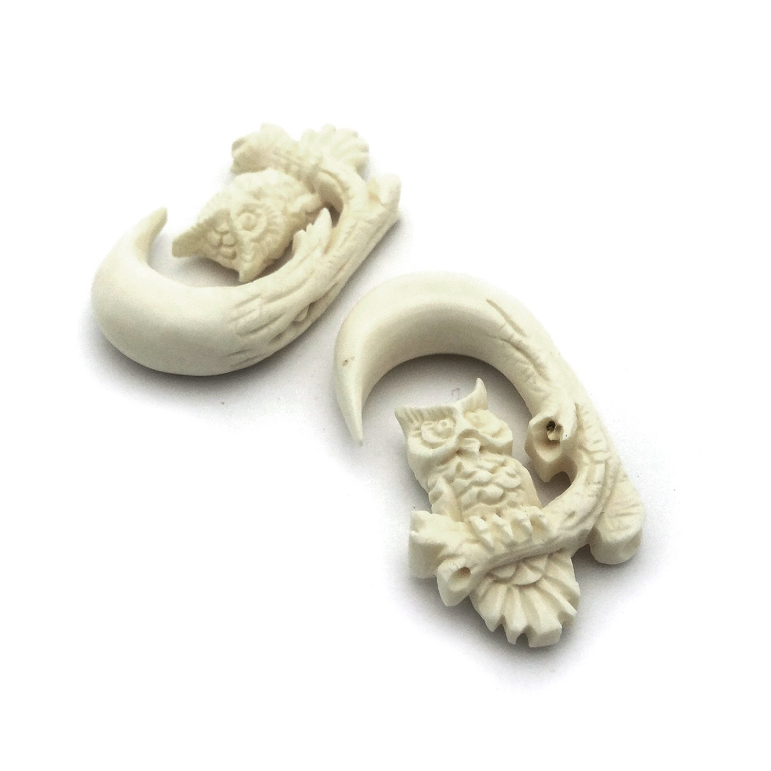 Pair of Hand Carved Organic Horn Bone Hanging Body Piercing Jewelry Wise Owl on Tree Branch (6.5mm (2g))