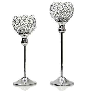 VINCIGANT Sparklers Wedding Table Centerpieces Candelabra,Decorative Floor  Vases Crystal Candle Holders For Dining Room