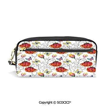 Butterflies and Flowers Backpack and 9 x 5 x 5.5 Pencil Case SET Made in the U.S.A.