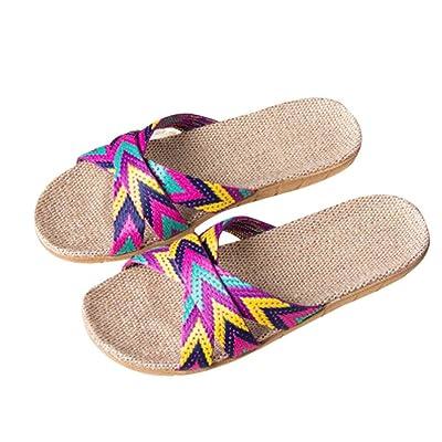 Linen Shoes Mallcat Women Men Anti-slip Linen Home Indoor Summer Open Toe Flats Shoes Slippers