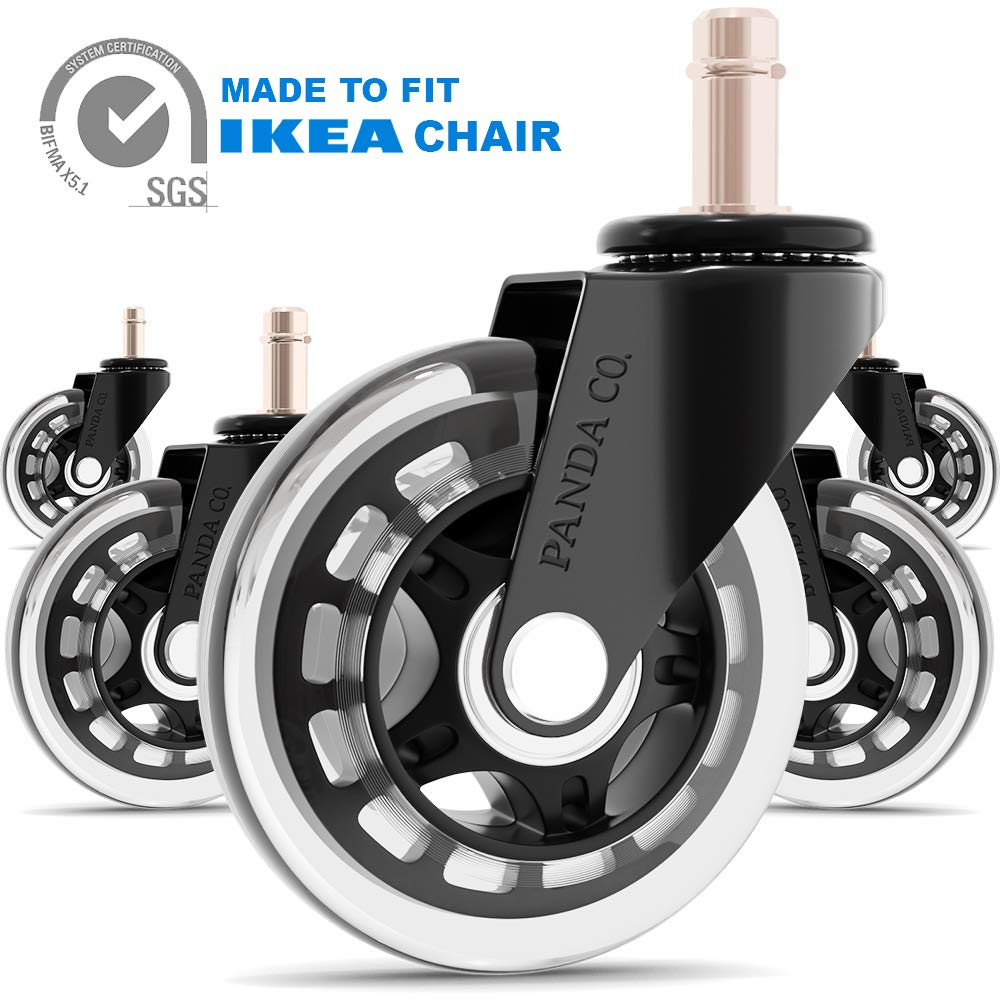 Panda Co. Office Chair Wheels - Set of 5 - Rollerblade 3 Inch Casters fit IKEA Chair. Heavy Duty, Quiet, and Safe for All Floors Including Hardwood, Replacement for Chair Mat
