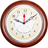 DayClocks CBR Contemporary Brown Analog Clock - Displays Day of Week & Time of Day