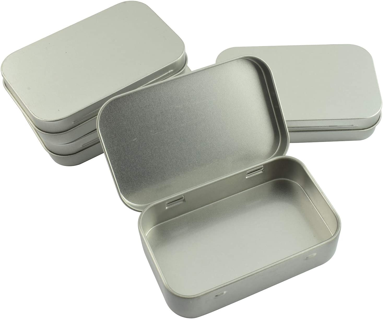 Partstock 4pcs Rectangular Hinged Metal Storage Box Container with Lid,Multipurpose Portable Small Tin Boxes Empty Containers for Home Travel Outdoor Activities(Silver)