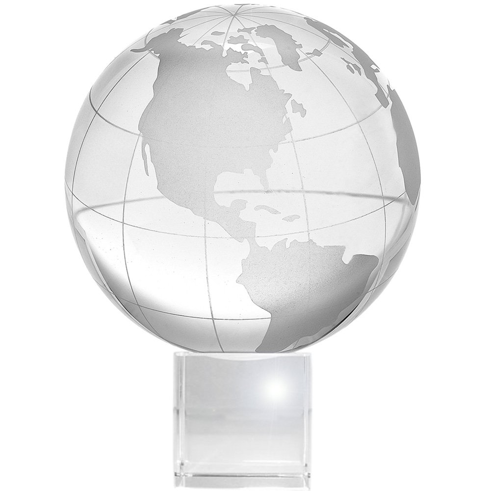 "Amlong Crystal Globe (3"" Diameter) on Crystal Stand with Gift Box - 4.75 Inch Tall"