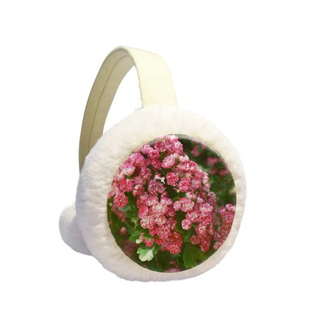 Pink Flowers Beautiful Green Leaves Winter Earmuffs Ear Warmers Faux Fur Foldable Plush Outdoor Gift