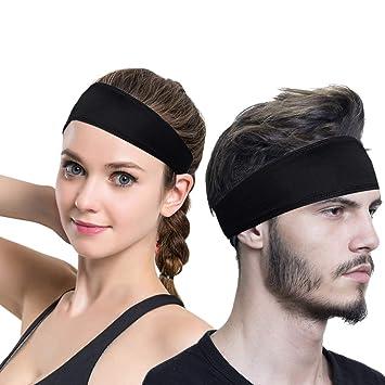 5f9102ec3eecbb HO2NLE 2 Stück Sport Stirnband Schweißband Kopf Haarband für Herren und  Damen Schwarz Stirn Kopfband Sport