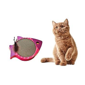 QNMM Tablero Rascador para Gatos Tablero Rayado con Forma De Pez/Nido De Gato/