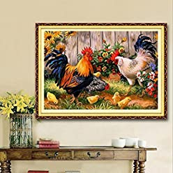 [Free Shipping] 30x40cm Animal Cock Family DIY Diamond Painting Rhinestone Cross-stitch Kit