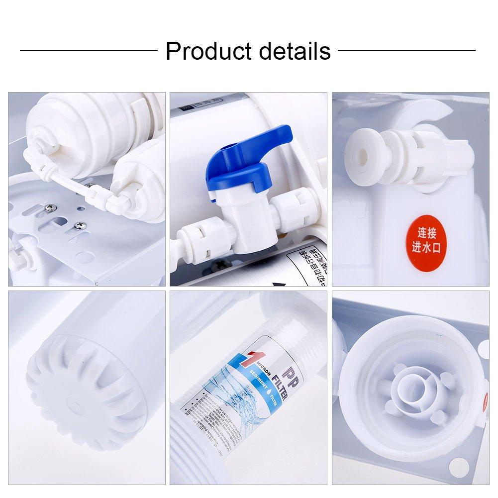 Syst/ème de Filtration d/'eau 5 Etapes Syst/ème d/'Osmose Inverse pour Filtration d/'eau Portable Filtre Carbone Purificateur l/'eau