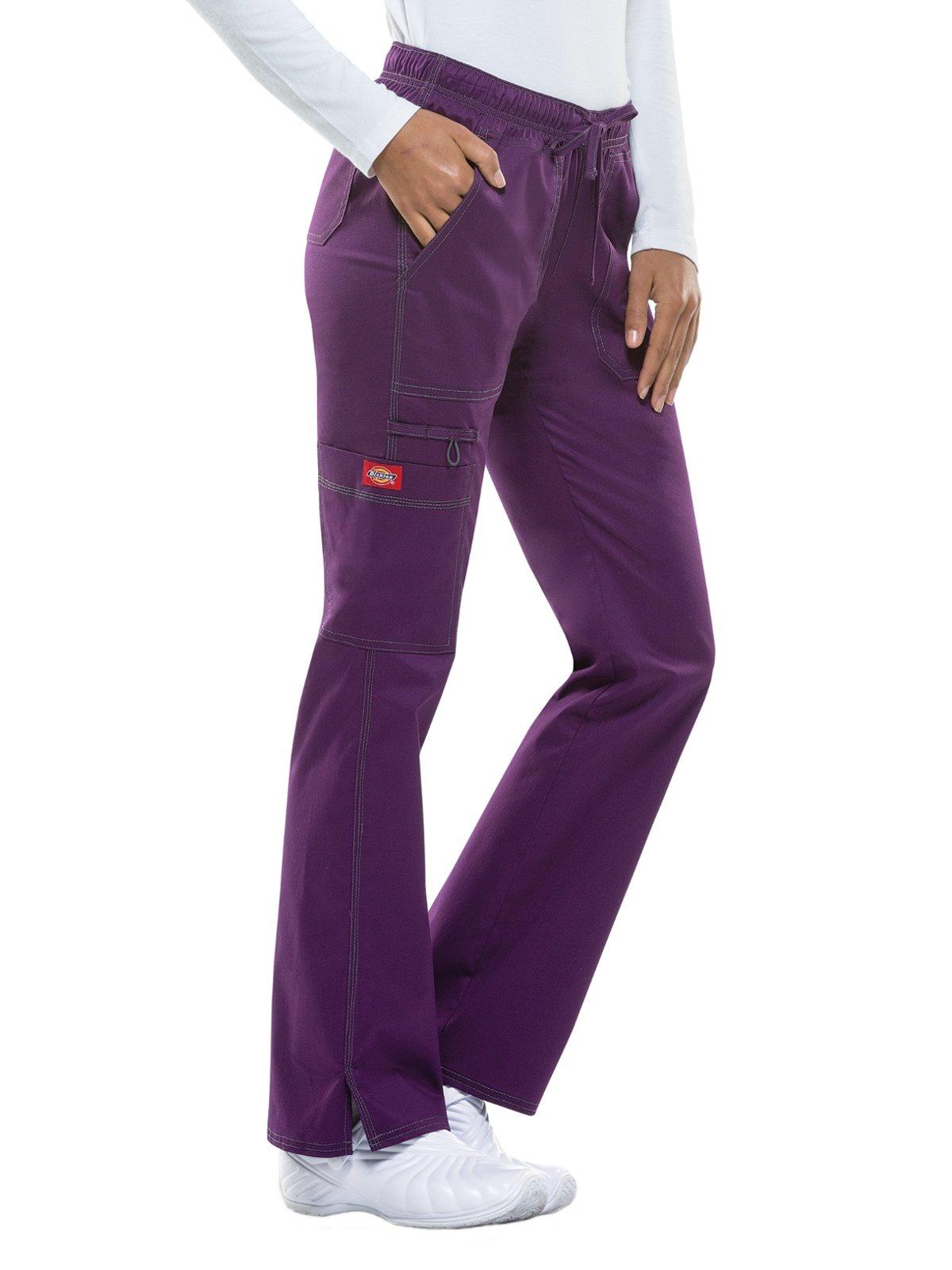 Dickies Gen Flex Women's Low Rise Straight Leg Scrub Pant Xx-Small Petite Eggplant