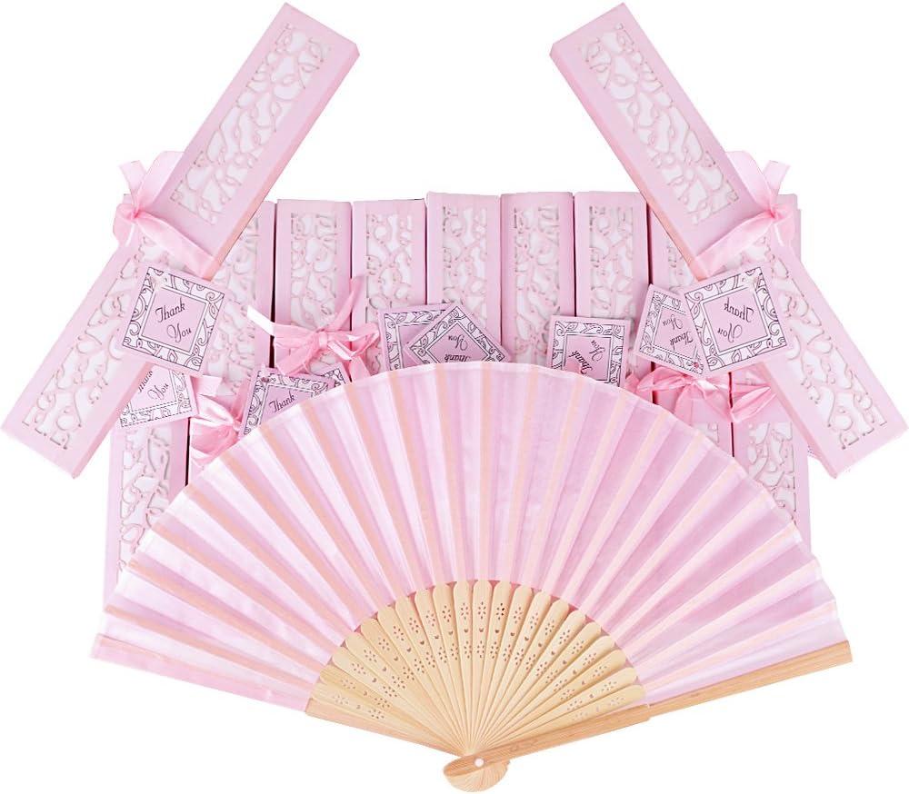 AONER 20pcs Abanico Rosa de Boda Plegable de Mano Tela Regalo Recuerdo Detalle para Invitados de Boda Fiesta o Baile Arte Madera con Caja Papel para Guardar (Abanico Rosa + Caja Rosa)