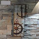 Jeteven 1pc 20x60x1.5cm Mediterranean Style Design Nautical Wood Wall Plaque Sign Hanging Ornament Home Decor ''SAIL TOWARD Your Dreams''