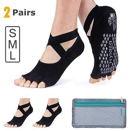 366d8c35b84 Hylaea Yoga Socks for Women with Grip   Non Slip Toeless Half Toe Socks for  Ballet