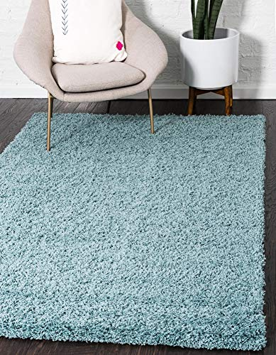 Unique Loom Solo Solid Shag Collection Modern Plush Light Slate Blue Area Rug (2' 2 x 3' 0)