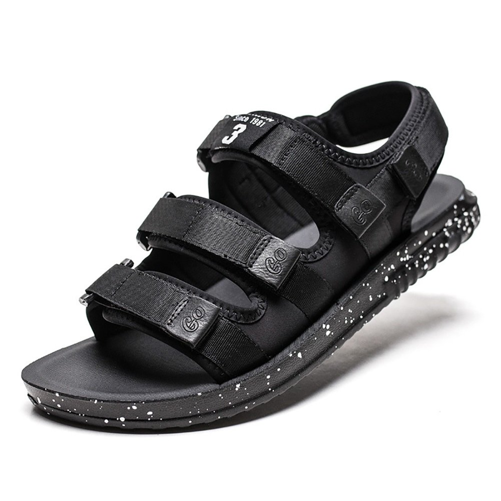 ZJM-sandalia Sandalias ajustables Beach Shoes Man Summer Slipper Cinta mágica para exteriores negras (38-44 Talla) (Tamaño : 42) 42