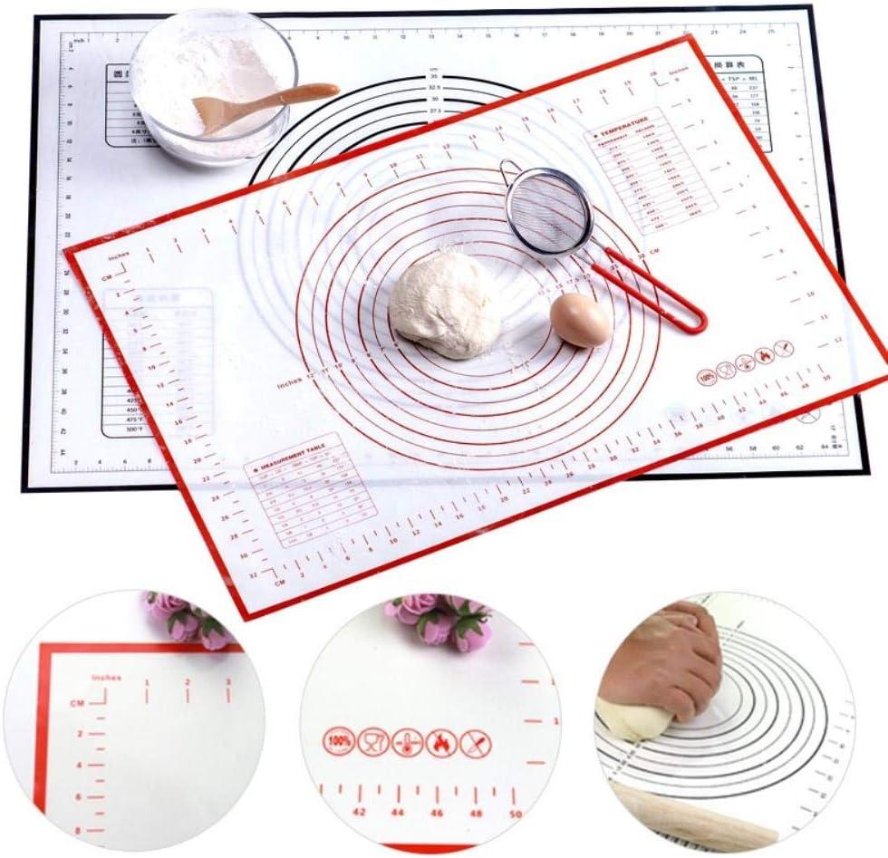 UKKO Silicone per Pasticceria Silicone Cottura Mat con Calamina Impastare Stuoia del Rilievo Antiaderente Forno Liner Dolci Bakeware,30X40Cm Nero