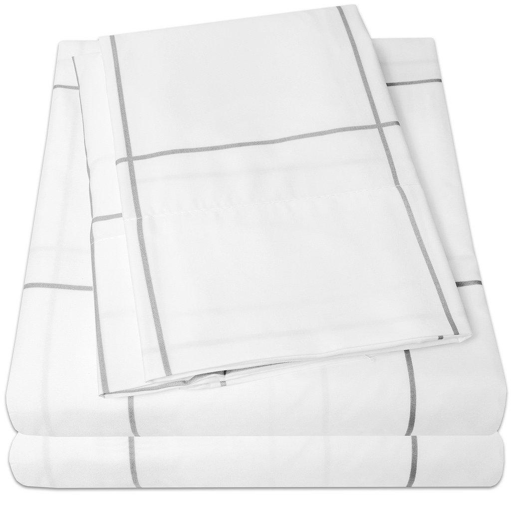 4 Piece Set - White Body/ Gray Window Pane - Full