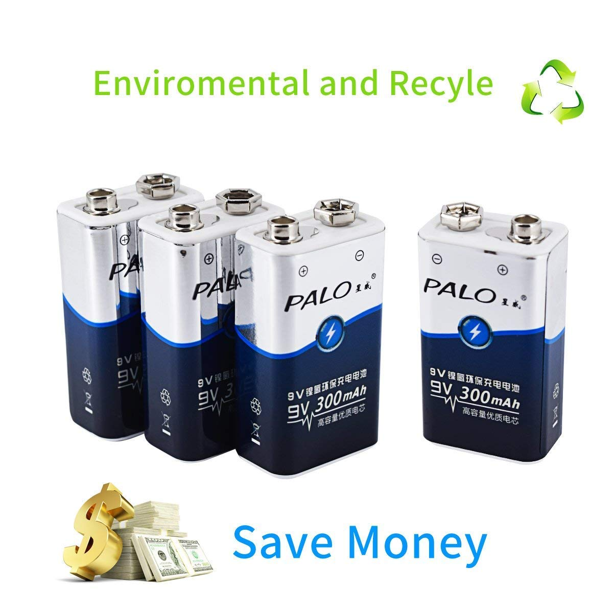 PALO 4 Pack 9V Ni-MH Rechargeable Batteries, 300mAh PP3 6F22 Batteries - Free CASE palobattery CA-9V*300