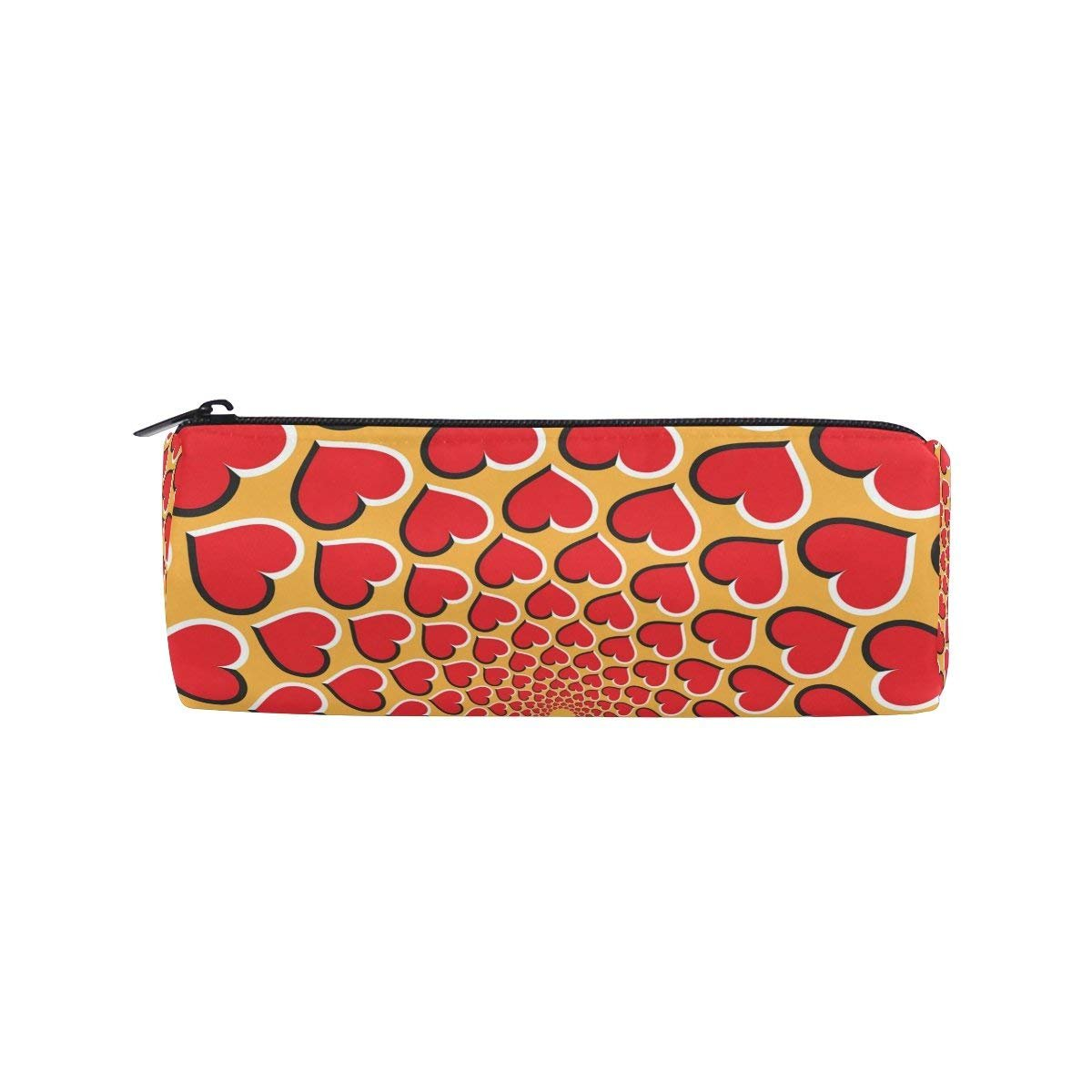 Elephant Love Heart Round Pencil Case Stationery Bag Zipper Pouch Pencil Holder