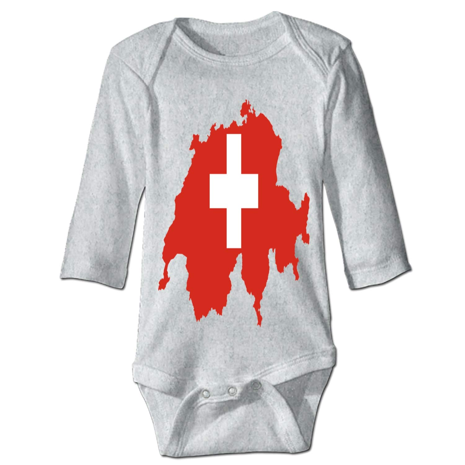 Infant Soft Pajama Creeper Fun Design Switzerland Flag Bodysuits for Babies