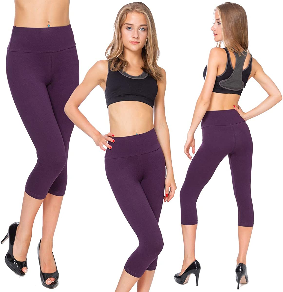 MITAAMI Cropped 3//4 Lenght High Waist Leggings with Control Panel Active Pants LWP342