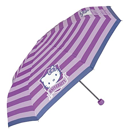 Paraguas Hello Kitty de Niña - Mini paraguas con rayas - Plegable Ligero Compacto y Antiviento