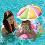 Intex Fish & Friends Baby Float Inflatable Pool Tube Raft w/Canopy Water Slide Inflatable Kids Backyard Fun Play Center Summer Outdoor Fun Swimming