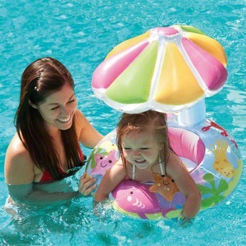 Intex Fish & Friends Baby Float Inflatable Pool Tube Raft w/Canopy Water Slide Inflatable Kids Backyard Fun Play Center Summer Outdoor Fun Swimming by Intex